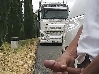 Hunting Trucker cum tribute masturbation outdoor
